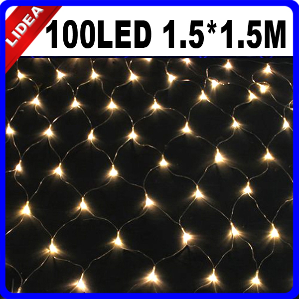 1.5*1.5M 100 LED Garden Wedding Party New Year Net Mesh LED Christmas Decoration Outdoor Fairy Garland String Light CN C-23 ...