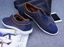 Factory price Men's Shoes Flats Boys Blue Casual Men Shoes Size 9 Men Shoes Ox Fur Genuine Leather Massage Button