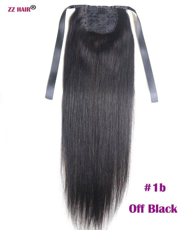 """ZZHAIR 80 г 1""""-24"""" машинное производство remy волосы лента Конский хвост на заколках человеческие волосы для наращивания конский хвост Натуральные Прямые Волосы - Цвет: # 1B"""