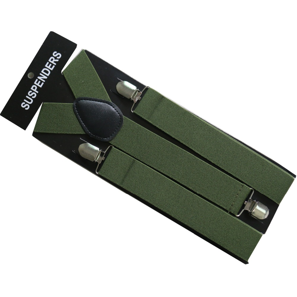 Free Shipping 2019 New 3.5cm Wide Army Green Plain Color Suspenders For Mens