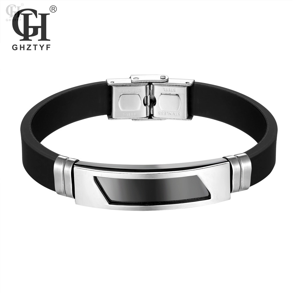Silicone Bracelet Men's Stainless Steel Buckle Black Rubber Bracelets Bangles For Women's Wristband Silica Gel Pulsera Jewelry