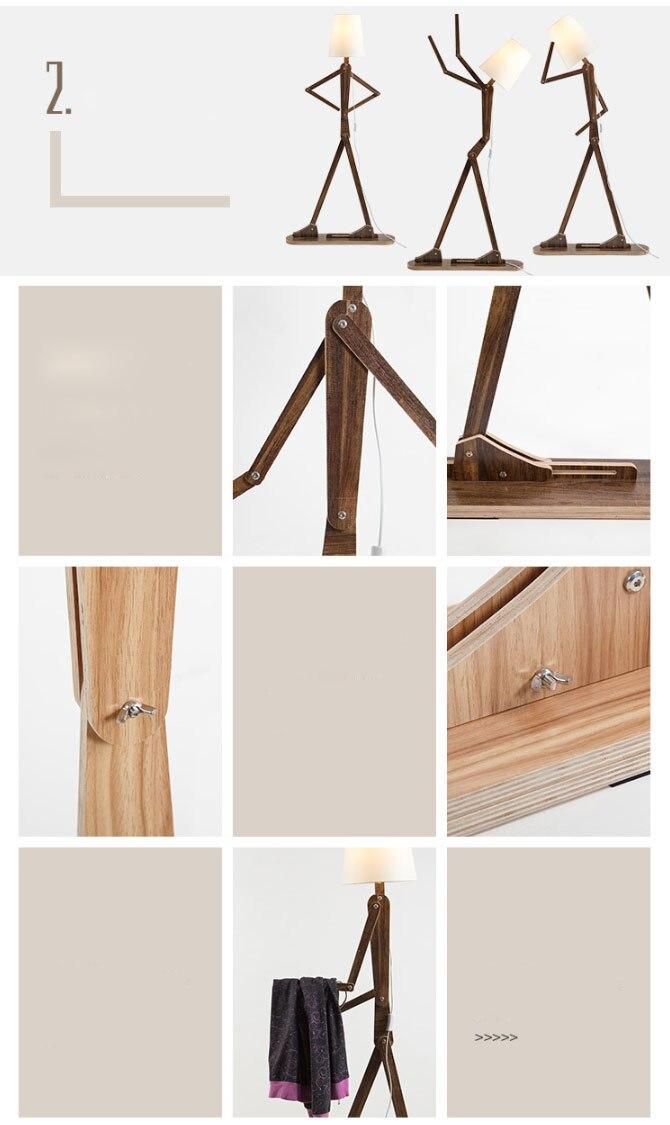 Criativo diy lâmpadas de assoalho madeira nordic