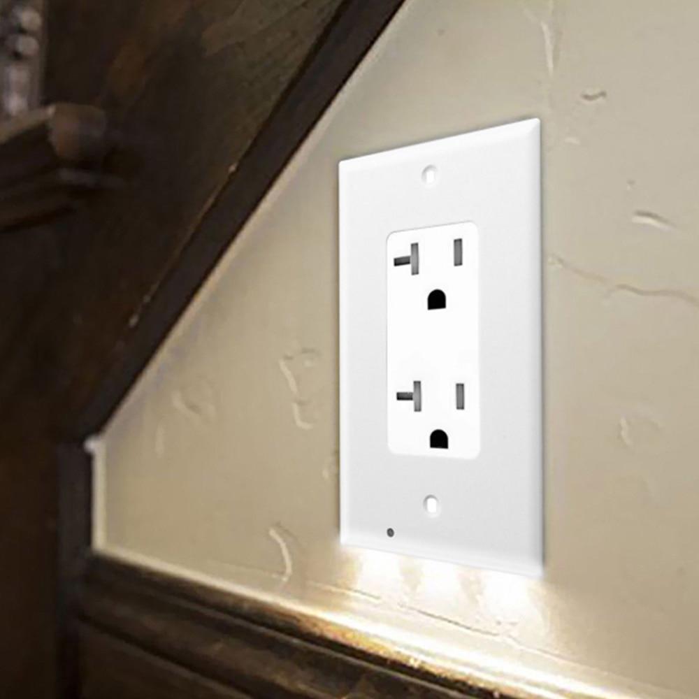 Wall Outlet Cover Plate With Led Lights Safty Light Sensor Plug