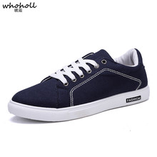 WHOHOLL 2019 New Spring Autumn Men Male Casual Canvas Shoes Breathable Fashion Men Sliod Lace Up Slip Sneaker Flats Shoes 39-44