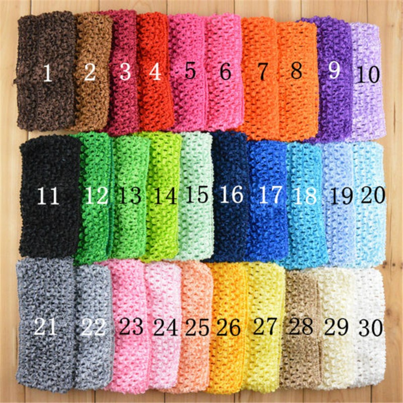 20pcs/lot U Pick Color 2.75 Inch Elastic Crochet Waffle Tutu Headband girls Hairbands DIY Supply Hair Accessories D03 цена