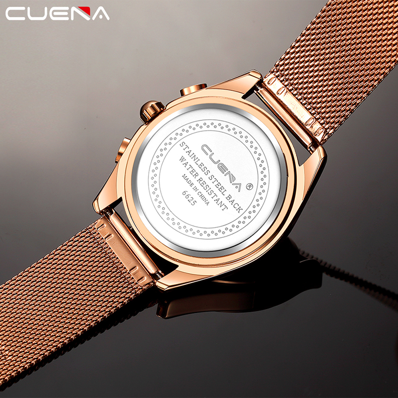 CUENA Men Watches Top Brand Luxury Waterproof Stainless Steel Quartz Wrist Watch Male Clock 3 Dials Decoration Relogio Masculino