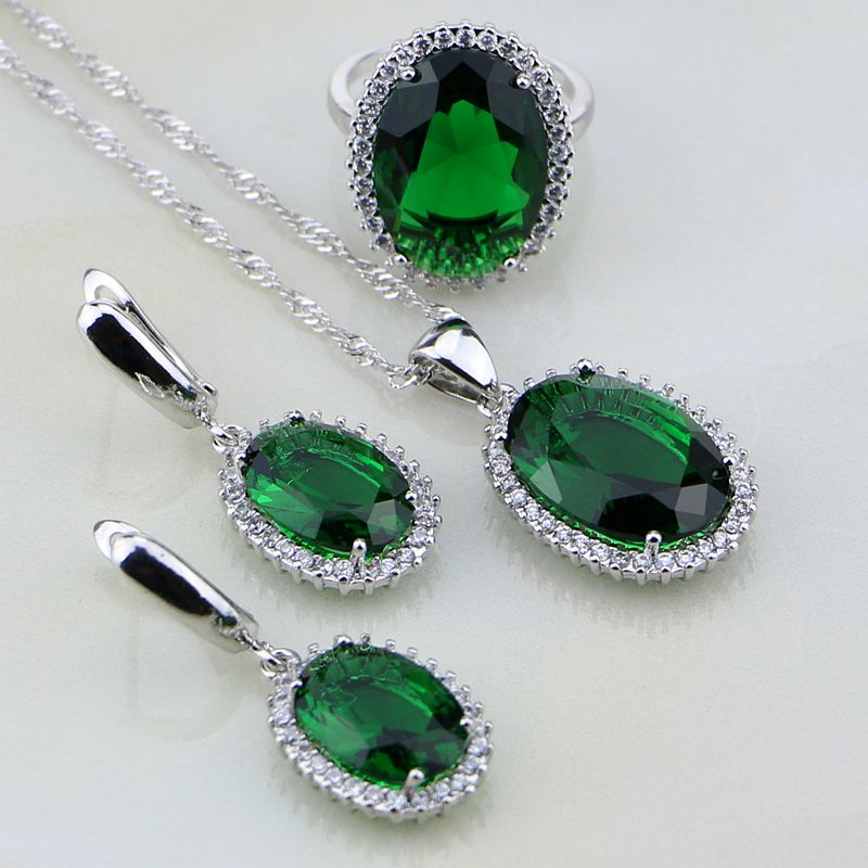 Jewelry-Sets Stones Wedding-Sliver Necklace/ring Mystic White Green Emerlad Silver Women