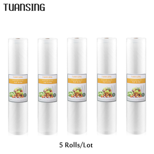 Image 1 - 5 Rolls/Lot Kitchen Food Vacuum Bag Storage Bags For Vacuum Sealer 12/15/20/25/28cm*500cm