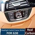 BMW için Airspeed G30 Aksesuarları BMW G30 Karbon Fiber BMW G30 Iç Trim Sticker Araç Far için anahtar düğmesi Çerçeve Çıkartmalar