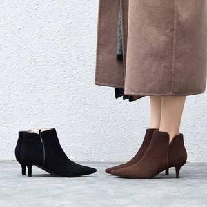 Image 3 - Superstar Botines de piel auténtica con punta en pico para mujer, botines de tacón alto, clásicos de pasarela, para invierno, L97, 2020