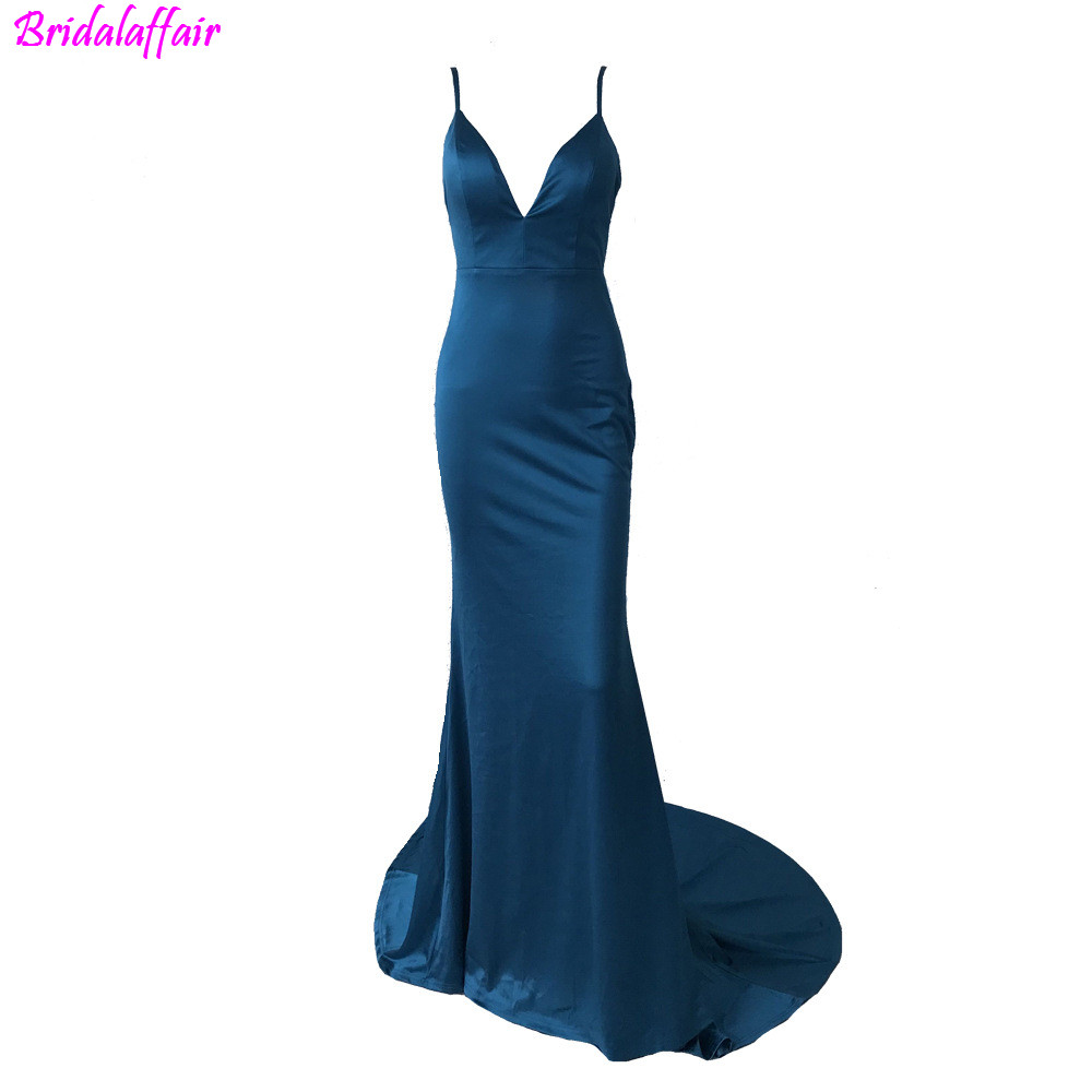 vestidos de gala 2019 Sex V neck Elegant Simple Spaghetti Strap Evening Gown Backless Mermaid Prom Dress For Women in Prom Dresses from Weddings Events