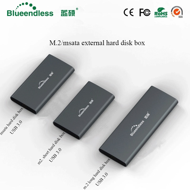 Blueendless M.2 xách tay ssd đĩa cứng trường hợp loại c usb 3.0 msata 2242/2260/2280 ổ cứng bao vây bạc nhôm hdd caddy