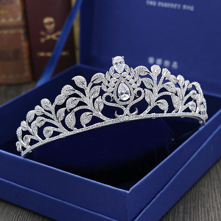 Large Full Zircon Tiara Copper Zircon Tiaras Micro Pave CZ Bride Crown Wedding Hair Jewelry Diadem Mariage Bijoux Coroa WIGO1037