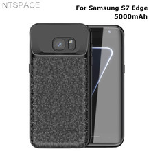 NTSPACE 5000mAh Ultra Thin Silicone Backup Power Bank Cover For Samsung Galaxy S7 Edge Case External Battery Charger Cases