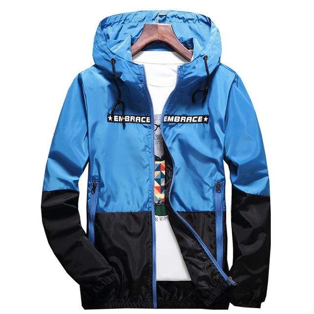 New Spring Autumn Bomber Hooded Jacket Men Casual Slim Patchwork Windbreaker Jacket Male Outwear Zipper Thin Coat Brand Clothing 5