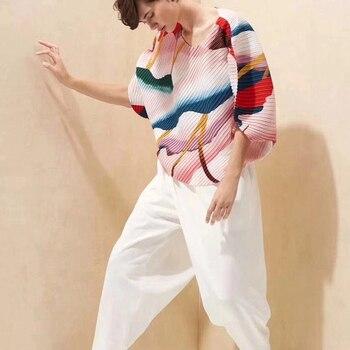 Design of MIYAKE Fold New Summer Style Small Population Chiffon Irregular Top Short Sleeve T-shirt free shipping