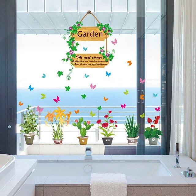 US $3.54 8% OFF 3d effekt Garten Blume Blumen wandaufkleber TV Hintergrund  Sofa Home decor Fliegenden Schmetterling wandtattoo Fenster Hochzeit Decor  ...