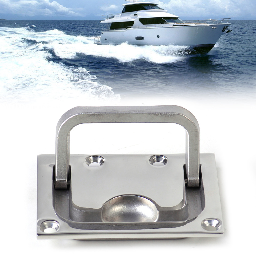 beler New Silver 316 Stainless Steel <font><b>Boat</b></font> Marine Flush <font><b>Hatch</b></font> Locker Cabinet Lift Pull Handle for <font><b>Boat</b></font> <font><b>Hatch</b></font> Locker image