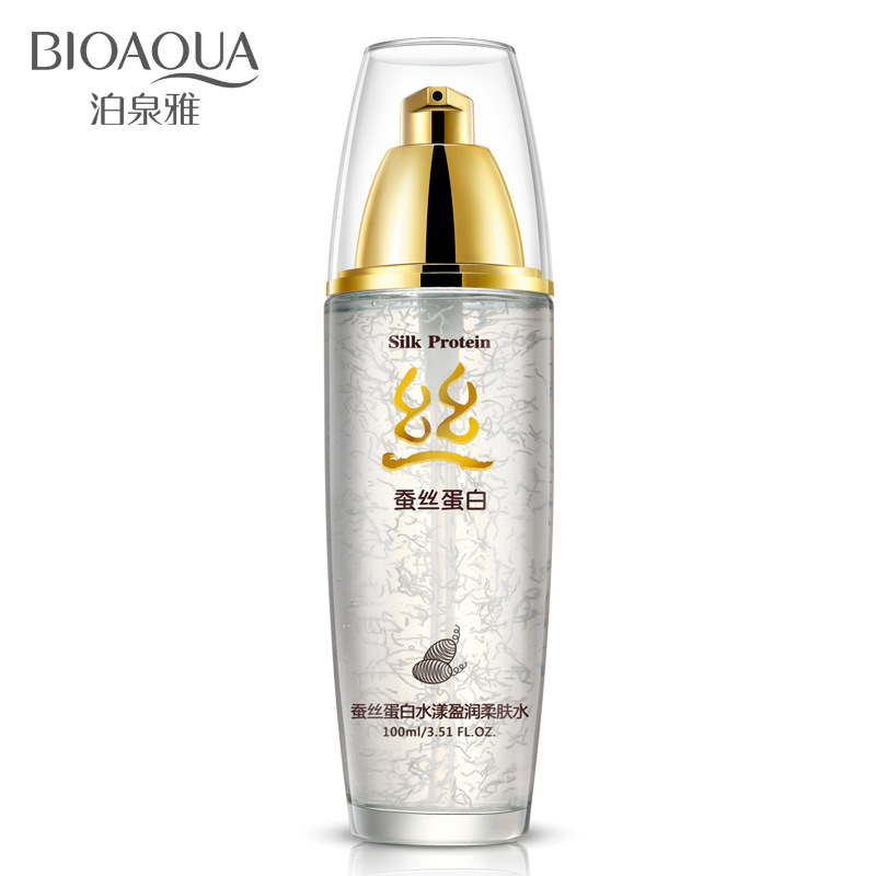 BIOAQUA 100ml Silk Protein Hyaluronic Acid Liquid Toner Moisturizing Toner Oil Control Shrink Pores Anti wrinkle Skin Care Serum men skin care cream set 3pcs lot cleanser toner emulsion moisturizing oil control shrink pores anti wrinkle face care