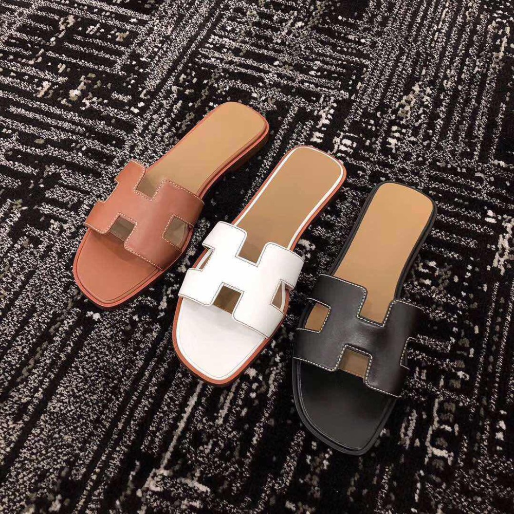 3 Colors Top Quality Women Genuine Leather Slides Fashion Summer Slippers Beach Shoes ClorisRuo LOGO Designer Style