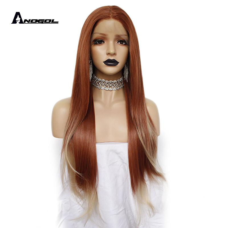 ANOGOL 350 Auburn Copper Red Long Straight Middle Part Synthetic Lace Front Wig For Black Widow