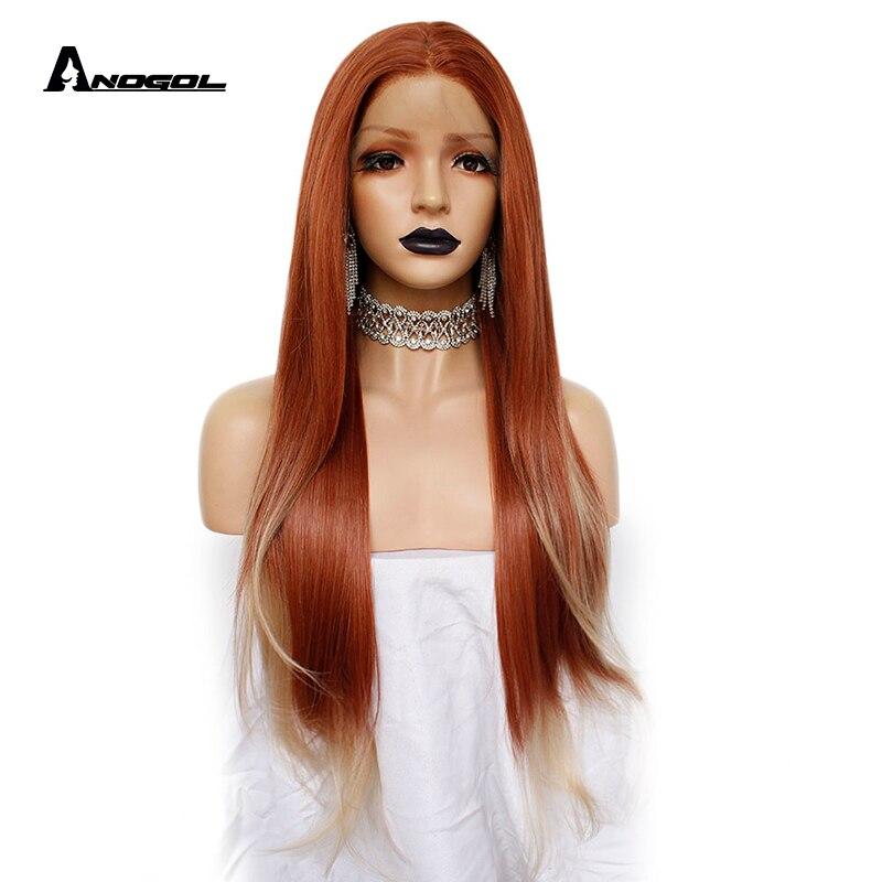 Peluca frontal de encaje sintético de pieza media recta larga roja de cobre Auburn 350 de ANOGOL para el pelo Natural de las mujeres blancas de la viuda negra pelucas-in Pelucas sintéticas sin encaje from Extensiones de cabello y pelucas on AliExpress - 11.11_Double 11_Singles' Day 1