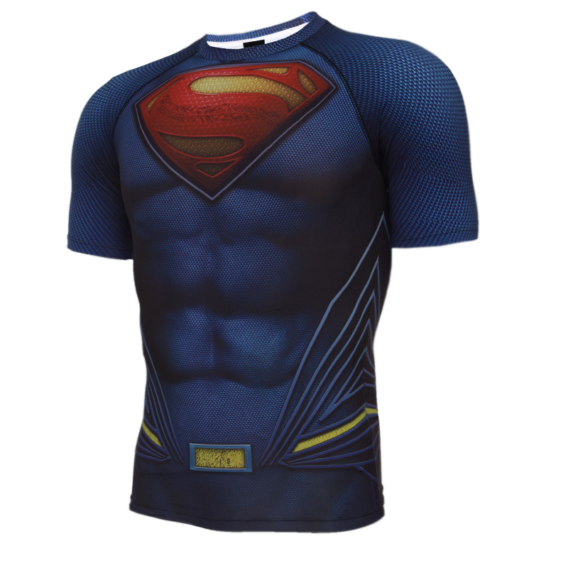 2016 NEW Batman vs Superman T-shirt men short sleeve Summer cosplay anime new 3D color print personalized fitness tight t shirt