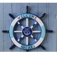 Welcome Aboard Painted Wooden Ship Wheel Helm Nautical Ocean Sea Sailor Decor