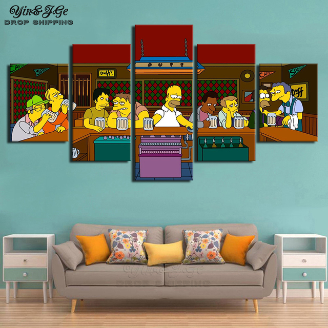 Wall Art Modular Pictures Frame 5 Pieces Simpson Anime Character Canvas Painting Cuadros Decoration Living Room HD Prints Poster