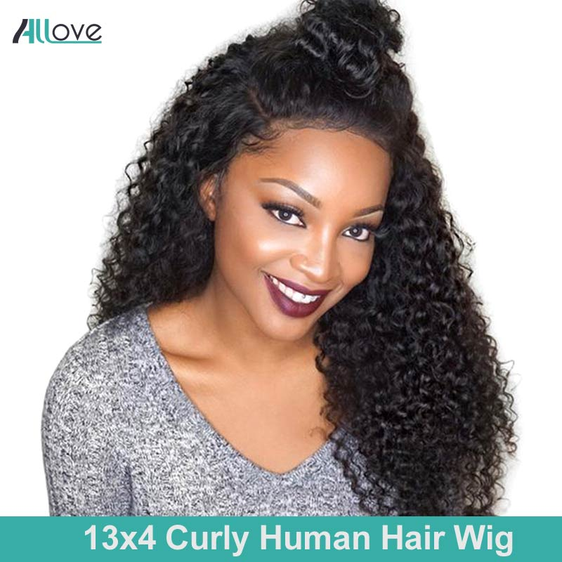Allove 13x4 Curly Human Hair Wig 8-24inch Lace Front Human Hair Wigs For Black Women Brazilian Remy 250% Density Lace Wigs