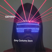 T823 Ballroom dance led glasses red laser light stage costume dj party wears show laser man robot suit projector luminous props