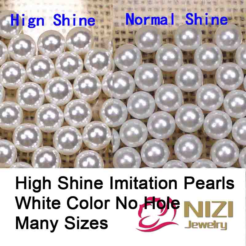 Wholesale White Color Pearl Beads High Shine No Hole Beads For Craft Art Round Imitation Resin Pearls Many Sizes For Choose pearls white and ivory 16 24mm abs resin imitation round pearls with hole high shine pearls
