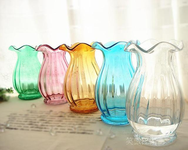 Artificial Flower Set Vase Flower Colored Glass Vase Glass