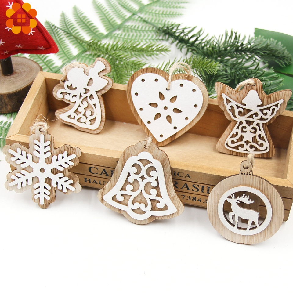 2PCS Vintage European White Wooden Pendants Ornaments Hanging Gifts For Wedding&Christmas Party Decorations Tree
