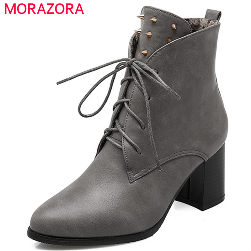 MORAZORA Big size 34-43 womens boots in spring autumn fashion boots female high heels shoes woman ankle boots for women party morazora pointed toe ankle boots for women high heels shoes woman fashion shoes woman autumn boots female big size 34 43