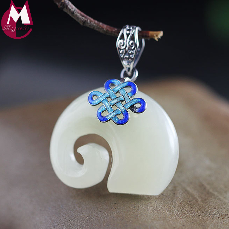 Valentines Day Natural White Jade Pendant Necklace Women Men Jewelry Cute Animal Elephant Burn Blue Pendant Silver Knot SP78