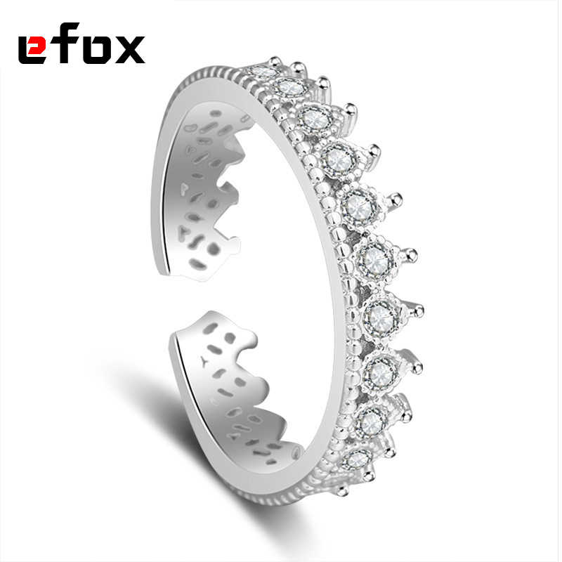 Luxury Inlaid AAA Zircon Ring Temperament Women 925 Sterling Silver Jewelry Roman Crown Rings Fashion Simple Jewelry