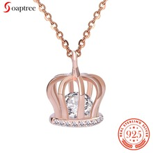 Soaptree Crown Pendant 925 Sterling Silver Necklace Jewelry Rose Gold Crystal Necklace & Pendants Fine Fashion Women Jewelry