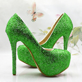 New Bridal wedding shoes green crystal high-heeled platform shoes girl wedding shoes performance party shoes