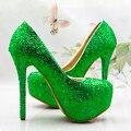 Novo casamento De Noiva sapatos de cristal verde de alta-salto alto plataforma sapatos de desempenho sapatos de casamento sapatos de festa da menina