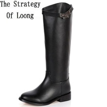 2017 New Winter Genuine Leather Buckle Short Plush Long Boots Women Spring Autumn Cow Leather Pure Color Knee High Boot ZY170929