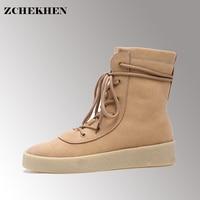 Autumn Season Crepe Bottom Men Shoes Platform Suede Military Boots Casual Combat Boots Hip Hop Kanye