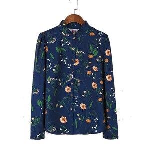Image 5 - Primavera elegante camicia delle donne di nuovo modo formale del collare del basamento di stampa manica lunga chiffon sottile camicette ufficio delle signore più il formato top