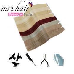 """MRSHAIR 6 # кожи уток человеческих волос прямой 20 штук ленты в расширение номера Волосы remy двухсторонней ленты для волос 16 """"18"""" 20 """"22"""" 24"""""""
