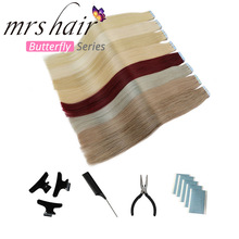 "MRSHAIR 6# Skin Weft Human Hair Straight 20pcs Tape In Extension Non-Remy Hair Double Sided Tape Hair 16"" 18"" 20"" 22"" 24"""