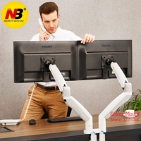 NB F195A Aluminum Alloy 22 32 inch Dual LCD LED Monitor Mount Gas Spring Arm Full Motion Monitor Holder Support with 2 USB Ports