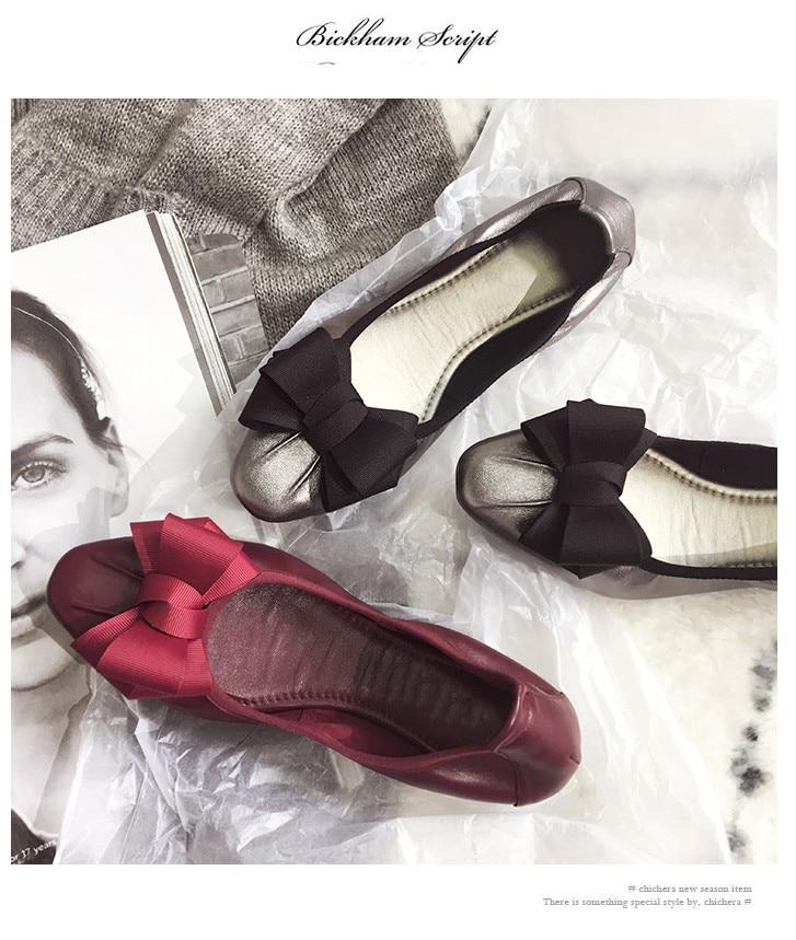 rouge Véritable Marque Danse Mode Chaussures De Casual 2018 noeud Papillon argent Cuir Confortable Plat Date Noir qC0EEw6