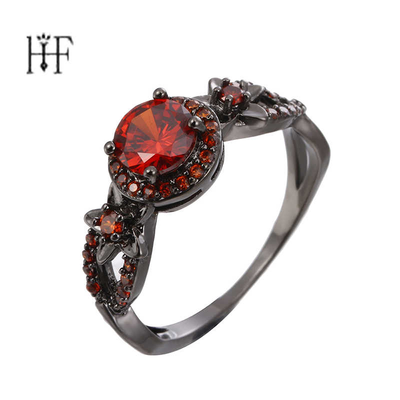 Vintage Star Ring Women Princess Queen Pentagram Ring with Clear CZ Authentic Jewelry Bague Femme Red Purple Stone Crystal