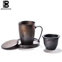 400ml Vintage Japanese Style Rust Glaze Ceramic Coarse Pottery Mug for Tea Milk Coffee Cup with Saucer Spoon Kit Water Drinkware