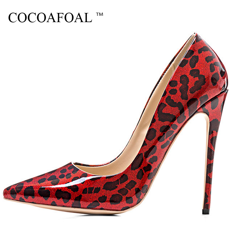 COCOAFOAL Stiletto Woman Leopard Shoes Plus Size 33 - 43 Sexy Party Red Wedding Pumps Autumn Golden 12 CM Ultra High Heels Shoes an investigation into food consumption patterns